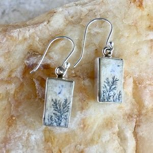 NEW Dendritic marlstone sterling silver earrings